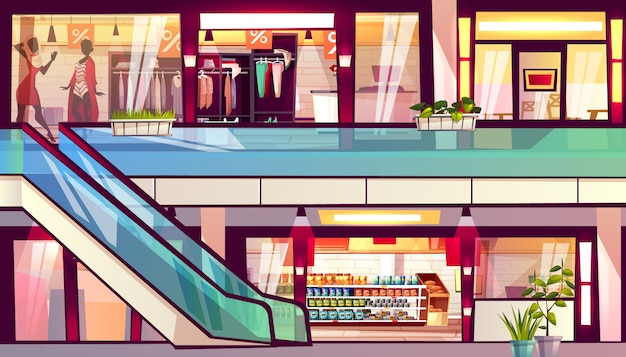 Mall with shops and cafes illustration. escalator staircase with grocery store supermarket