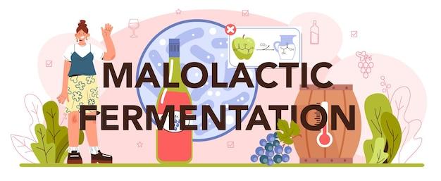 Malolactic fermentation typographic header wine production alcohol drink