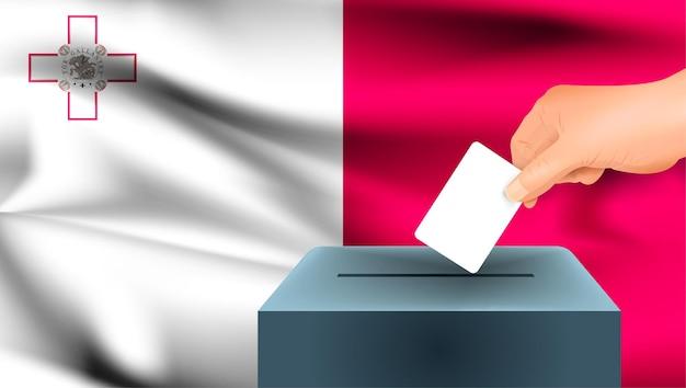 Флаг мальты, мужская рука голосование с фоном идеи концепции флага мальты