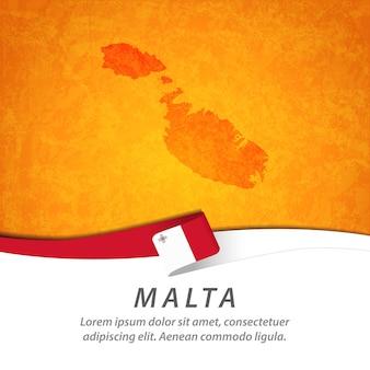 中央地図とマルタの旗