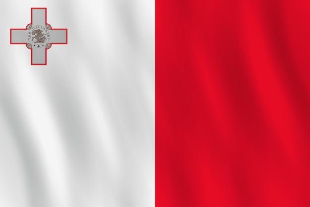 물결치는 효과가 있는 몰타 깃발, 공식 비율.