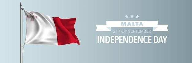 Malta happy independence day greeting card banner vector illustration