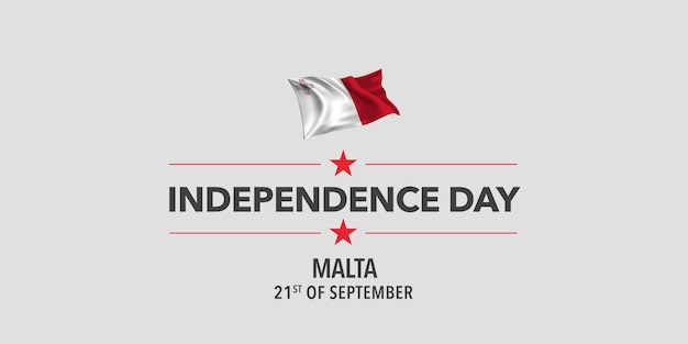 Malta independence day greeting card banner vector illustration