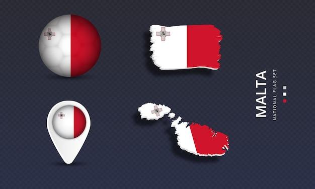 Malta national country wave flag set