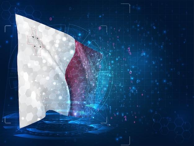몰타, hud 인터페이스가 있는 파란색 배경에 벡터 3d 플래그