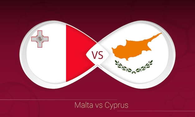 Malta vs cyprus in football competition, group h. versus icon on football background. vector illustration.