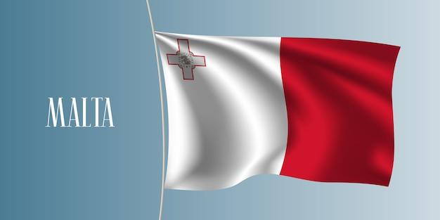 マルタ手を振る旗ベクトルイラスト