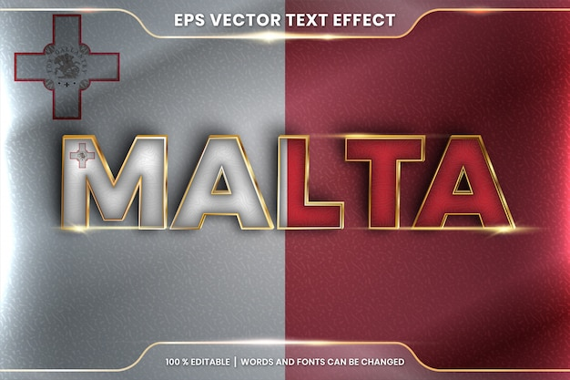 Malta with its national country flag, editable text effect style with gradient gold color concept