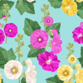 マルヴァ花のシームレスなパターン。花と夏の花の背景。壁紙、布の水彩画の咲くデザイン。ベクトルイラスト
