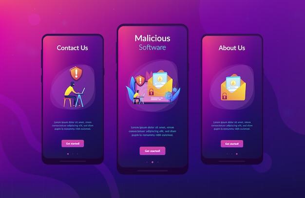 Malware computer virus app interface template.
