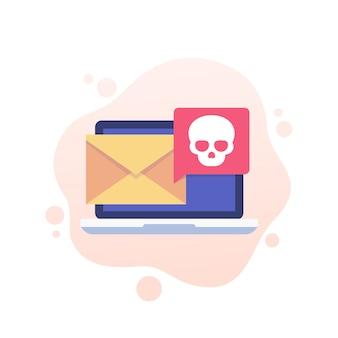 Вредоносное по, электронная почта с компьютерным вирусом, значок спама