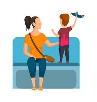 Мама с сыном в вагоне метро. общественный транспорт, городской подземный общественный транспорт с сидящим пассажиром. концептуальный дизайн.
