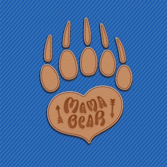 Mama bear  symbol of mothering in the form of heart and bear paw