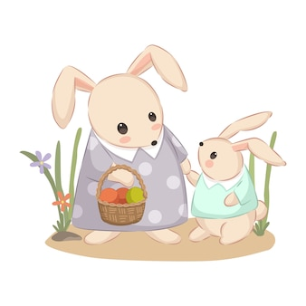 Mama bunny and baby bunny illustration for nursery decoration