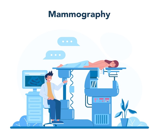Mammologist concept. consultation with doctor about breast cancer. idea of healthcare and medical examination. breast ultrasound and mammography, diagnostic of oncology. isolated vector illustration