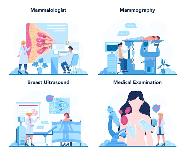 Mammologist concept set. consultation with doctor about breast cancer.