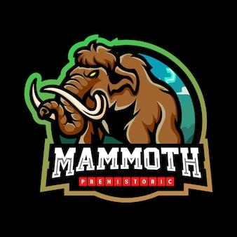 マンモス象のマスコットeスポーツロゴデザイン