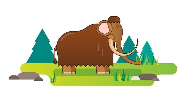 Mammoth flat vector illustration