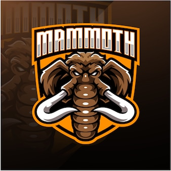 Mammoth head esport талисман дизайн логотипа