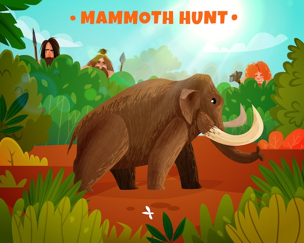 Mammoth hunt vector illustration