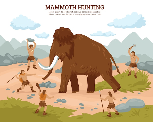 Mammoth hunting background