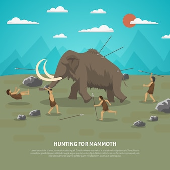 Mammoth hunting illustration