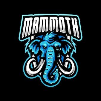 マンモスのマスコットロゴeスポーツゲームのロゴ