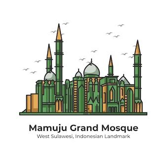 マムジュグランドモスクインドネシアのランドマークかわいいラインイラスト