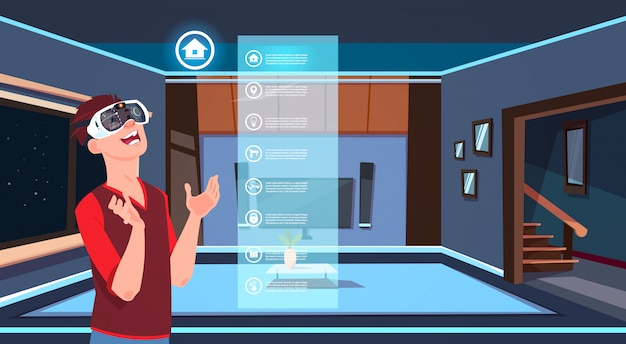 Man in 3d glasses using smart home app over living room background modern technology of house monitoring concept