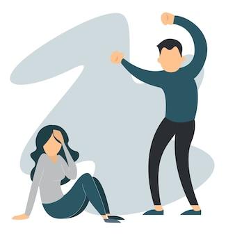 Мужчина злоупотребляет женщиной. домашнее насилие, плачущая женщина-жертва. жена в страхе, муж в гневе изолирован. парень избивает подругу.
