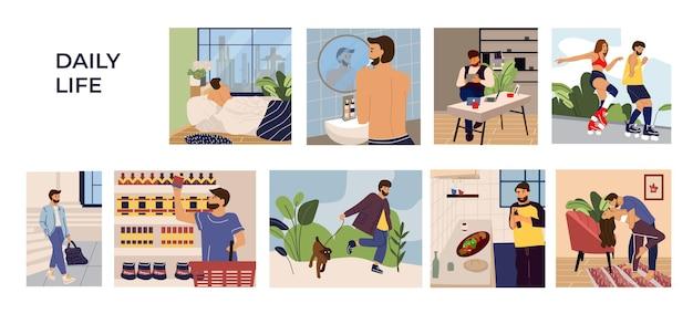 Man activities scenes illustration