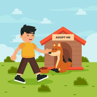 Man adopting dog