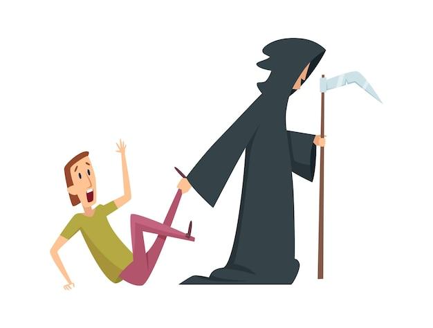 男は恐れている。死と男性の性格、パニック発作または精神障害。ハロウィーンのジョーク、孤立したパニックの人のベクトル図。男性を恐れ、死を恐れ、男性は怖くてパニックに陥る