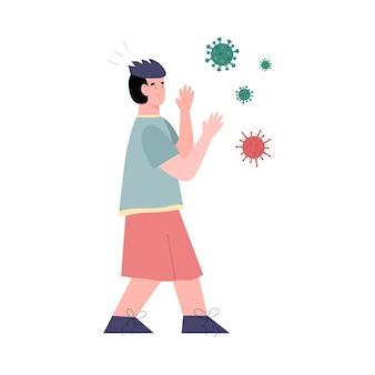 남자는 흰색에 고립 된 평면 바이러스와 세균을 두려워