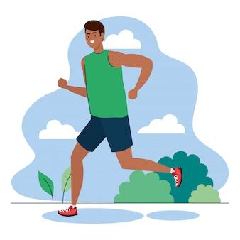 屋外、スポーツレクリエーション運動を実行している男アフロ