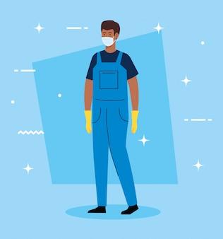 医療マスクイラストデザインを身に着けているクリーニングサービスの男アフロ労働者
