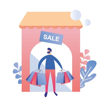 Man after sale shopping at store ad