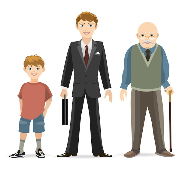 Man age progress concept illustration. old and adult, male young, age man.