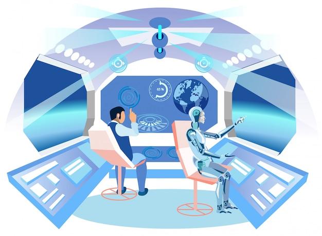 Man and ai robot.