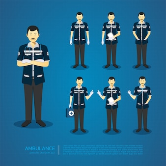 The man ambulance drivers all action character design set.