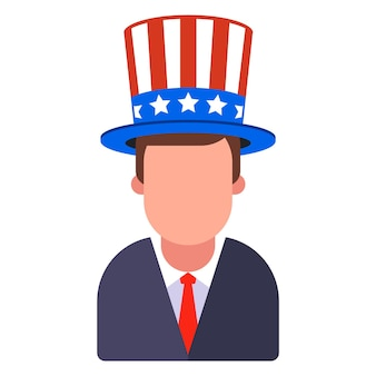 Man in american hat with stripes and stars. flat illustration