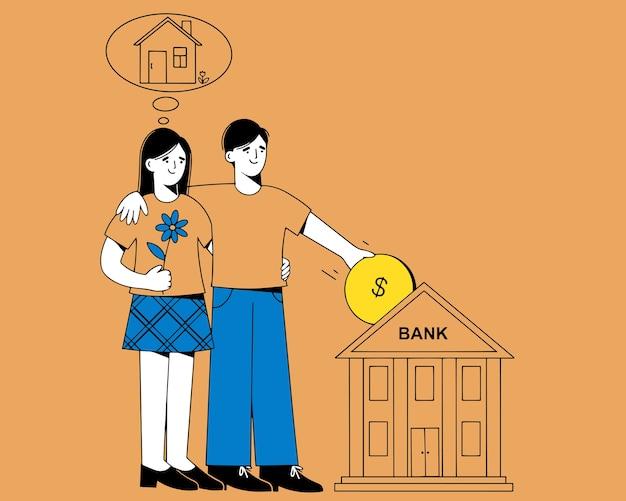 男性と女性が腕を組んで隣同士に立っています。男は手に金貨を持っています。