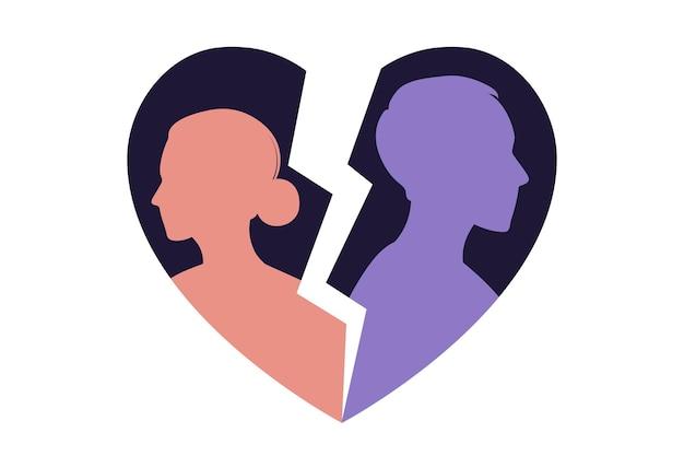 Мужчина и женщина в ссоре. конфликты между мужем и женой. разногласия, проблемы в отношениях. понятие развода, недопонимание в семье. вектор. плоский
