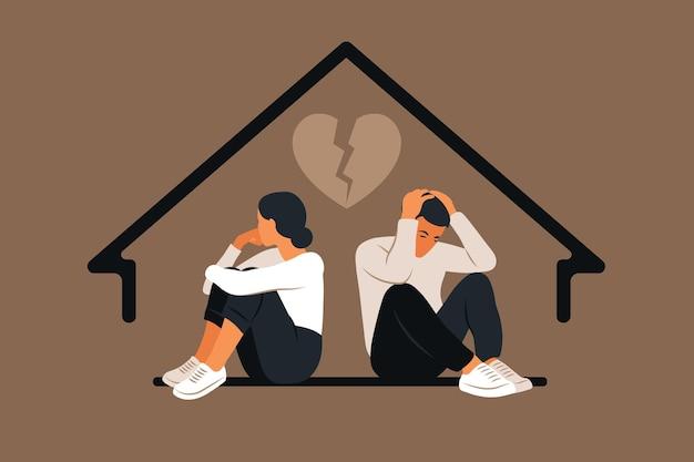 남자와 싸움에서 여자. 남편과 아내 사이의 갈등. 연달아 앉아있는 두 캐릭터, 불일치, 관계 문제. 이혼의 개념, 가족의 오해. 벡터.