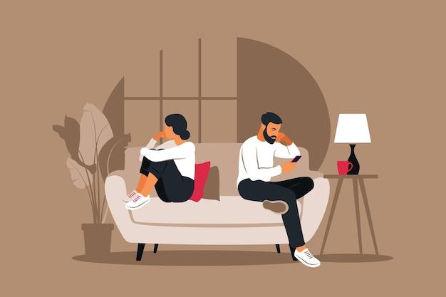 Мужчина и женщина в ссоре. конфликты между мужем и женой. два персонажа сидят спиной к спине, разногласия, проблемы в отношениях. понятие о разводе, недопонимание в семье.