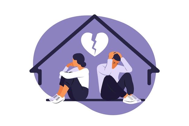 Мужчина и женщина в ссоре. конфликты между мужем и женой