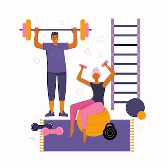 男性と女性は家で一緒に時間を過ごし、フィットネスとスポーツに従事しています。健康的な生活様式。ダンベルでのスポーツ練習。一緒に家にいます。