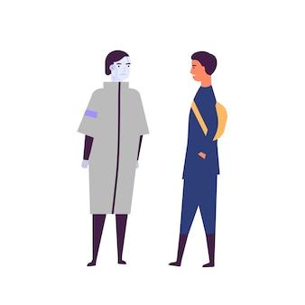 男とアンドロイド通信フラットベクトルイラスト。幸せな若い男と人型の機械の漫画のキャラクター。人とロボットの友情、人工知能の革新の概念。