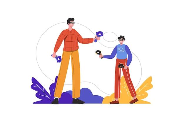 Мужчина и мальчик носят гарнитуру vr и играют в игры-симуляторы. игроки, играющие в киберпространстве, люди изолированы. концепция виртуальной дополненной реальности. векторная иллюстрация в плоском минималистском дизайне