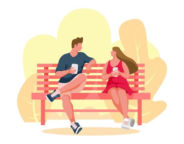 남자와 여자는 벤치에 앉아